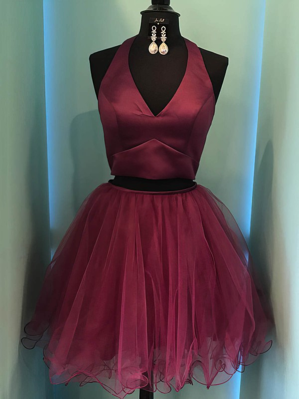 Ball Gown Halter Satin Tulle Short/Mini Prom Dresses #Favs020106326
