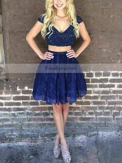 A-line V-neck Lace Short/Mini Beading Prom Dresses #Favs020106329