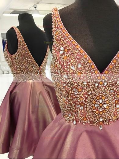 Princess V-neck Satin Short/Mini Beading Prom Dresses #Favs020106332
