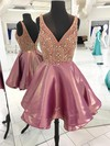 Princess V-neck Satin Short/Mini Beading Prom Dresses #Favs020106332