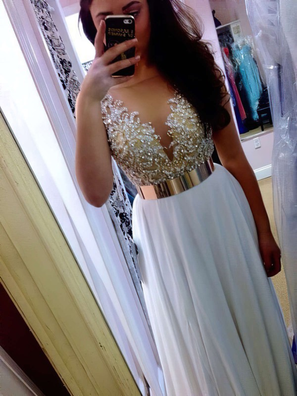 A-line Scoop Neck Chiffon Floor-length Beading Prom Dresses #Favs020102388
