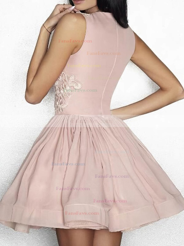 A-line Scoop Neck Silk-like Satin Short/Mini Appliques Lace Prom Dresses #Favs020106335