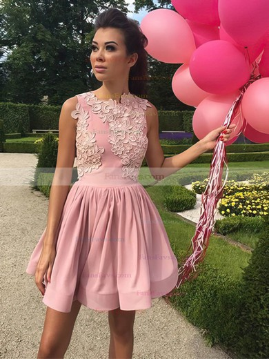 A-line Scoop Neck Silk-like Satin Short/Mini Appliques Lace Prom Dresses #Favs020106335