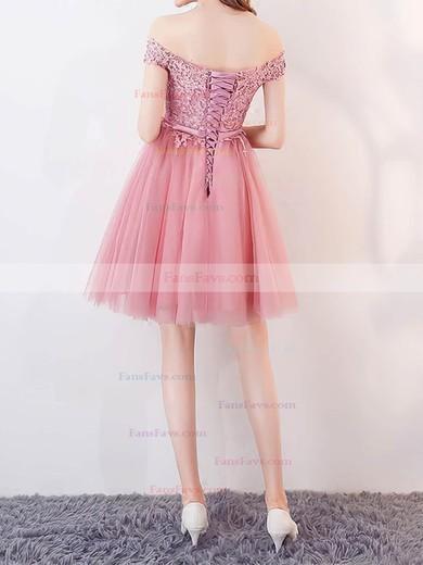 A-line Off-the-shoulder Tulle Short/Mini Appliques Lace Prom Dresses #Favs020106336