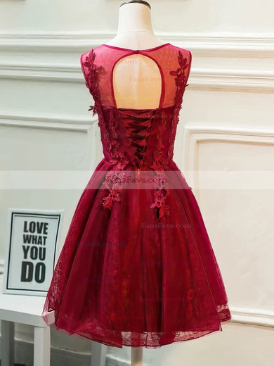 A-line Scoop Neck Lace Tulle Knee-length Beading Prom Dresses #Favs020106337