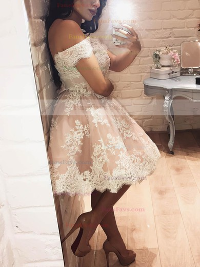 Ball Gown Off-the-shoulder Tulle Short/Mini Appliques Lace Prom Dresses #Favs020106339