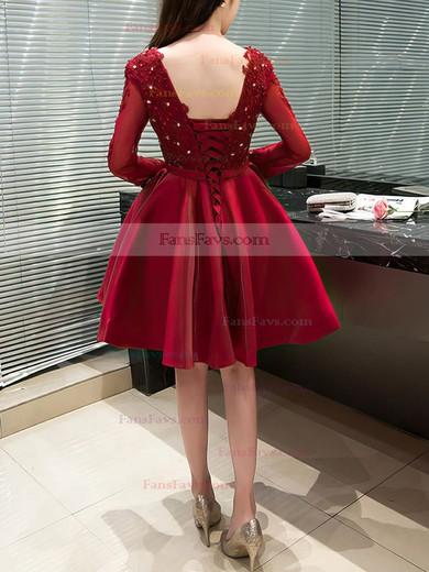 Princess V-neck Satin Tulle Short/Mini Appliques Lace Prom Dresses #Favs020106340