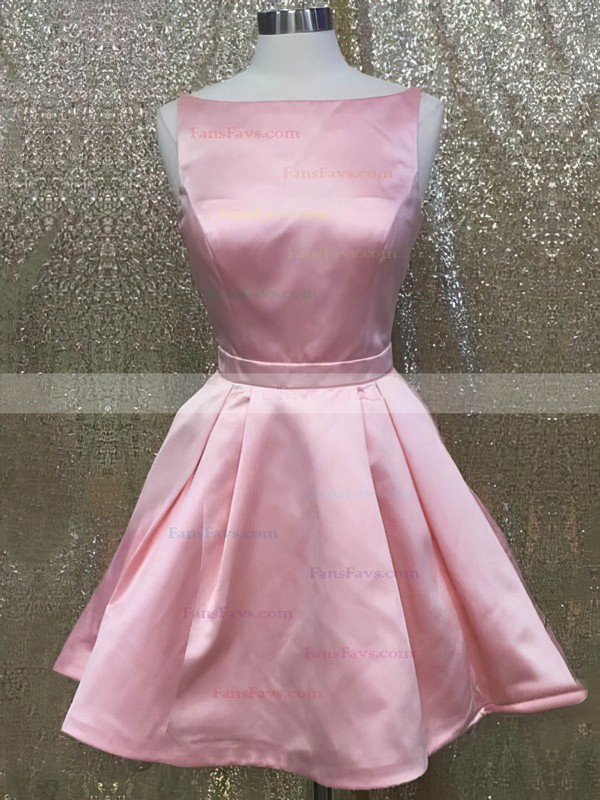 A-line Scoop Neck Satin Short/Mini Sashes / Ribbons Prom Dresses #Favs020106341