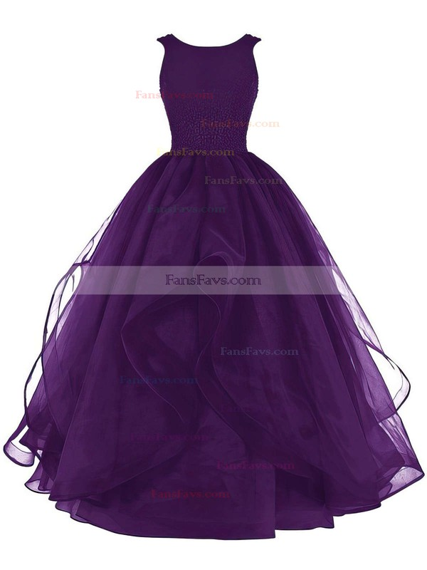 Ball Gown Scoop Neck Organza Floor-length Beading Prom Dresses #Favs020102390