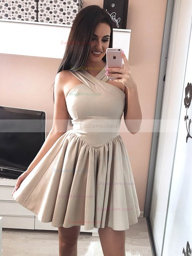 A-line V-neck Silk-like Satin Short/Mini Prom Dresses #Favs020106344