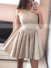 A-line V-neck Silk-like Satin Short/Mini Prom Dresses #Favs020106344