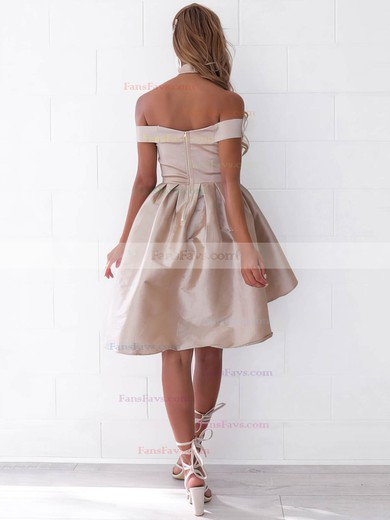 A-line Off-the-shoulder Satin Asymmetrical Ruffles Prom Dresses #Favs020106345