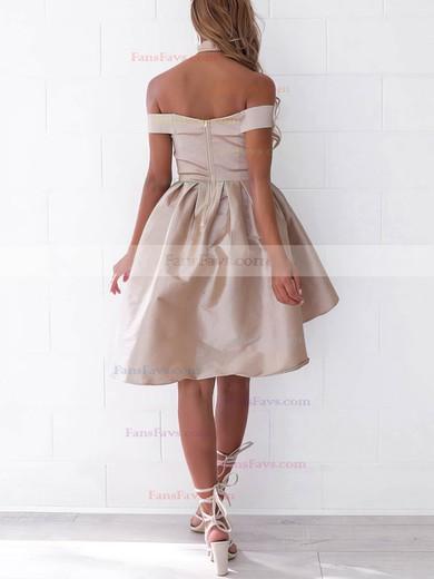 A-line Off-the-shoulder Satin Asymmetrical Ruffles Prom Dresses #Favs020106345