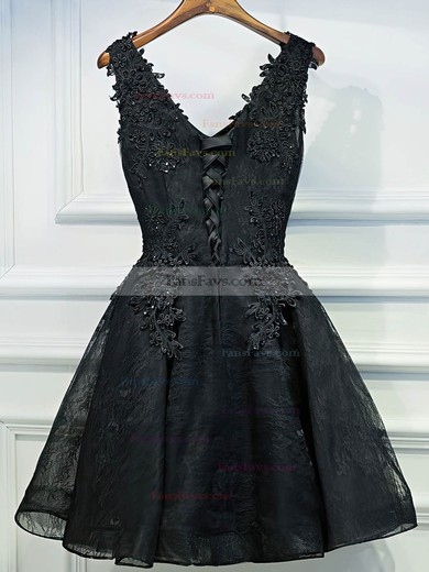 A-line V-neck Lace Short/Mini Appliques Lace Prom Dresses #Favs020106346