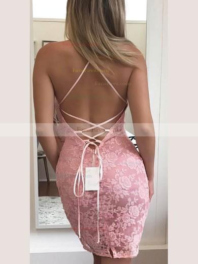Sheath/Column Halter Lace Short/Mini Prom Dresses #Favs020106347