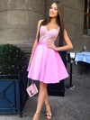 A-line V-neck Satin Tulle Short/Mini Appliques Lace Prom Dresses #Favs020106348