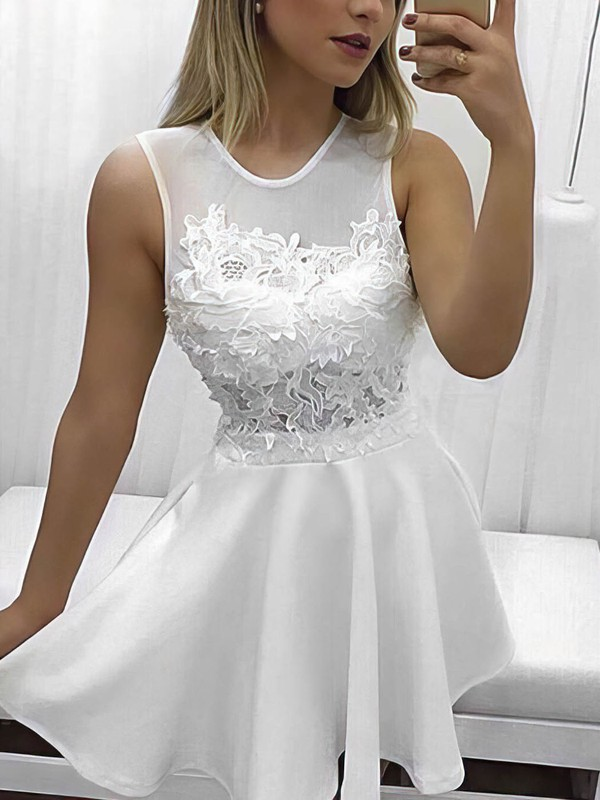 A-line Scoop Neck Tulle Silk-like Satin Short/Mini Appliques Lace Prom Dresses #Favs020106352