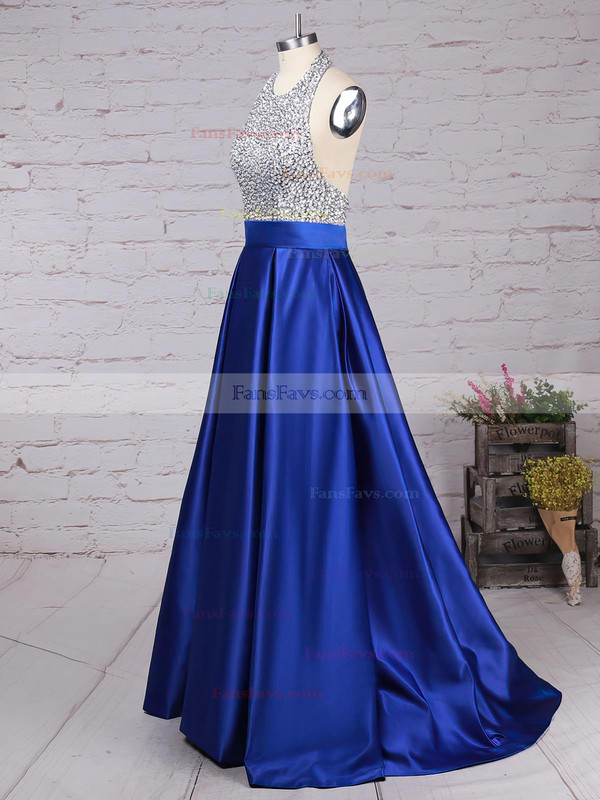 Ball Gown Halter Satin Floor-length Beading Prom Dresses #Favs020102391