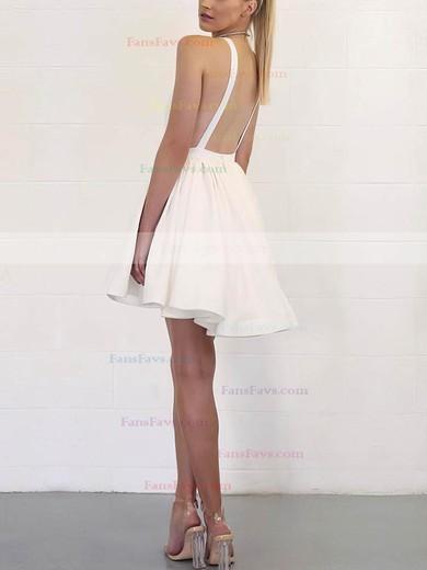 ce4453240b A-line V-neck Silk-like Satin Short Mini Prom Dresses