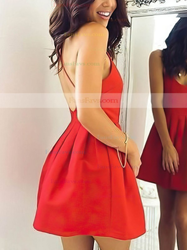 A-line Scoop Neck Silk-like Satin Short/Mini Ruffles Prom Dresses #Favs020106354