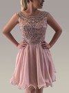 A-line Scoop Neck Tulle Chiffon Knee-length Sequins Prom Dresses #Favs020106356