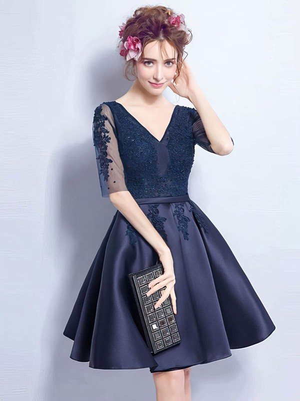 d2e3adb1e15c A-line V-neck Satin Tulle Short/Mini Appliques Lace Prom Dresses ...