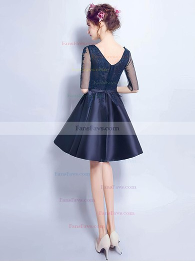 A-line V-neck Satin Tulle Short/Mini Appliques Lace Prom Dresses #Favs020106357