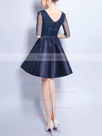 A-line V-neck Satin Tulle Short/Mini Appliques Lace Prom Dresses #Favs020106357