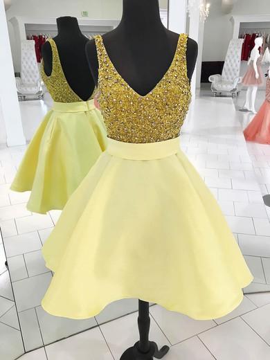 Princess V-neck Satin Short/Mini Beading Prom Dresses #Favs020106358