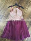 A-line Halter Chiffon Tulle Short/Mini Beading Prom Dresses #Favs020106360
