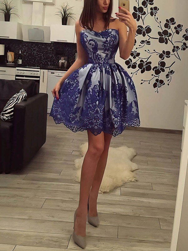 Princess Sweetheart Lace Satin Short/Mini Lace Prom Dresses #Favs020106361