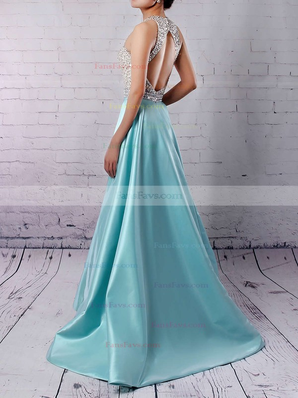 A-line Scoop Neck Floor-length Satin Tulle Prom Dresses with Beading #Favs020102392