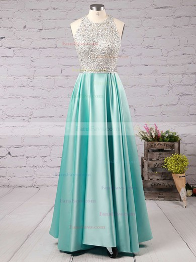 Princess Scoop Neck Satin Floor-length Beading Prom Dresses #Favs020102392