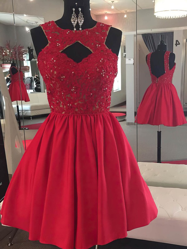 A-line Scoop Neck Satin Tulle Short/Mini Beading Prom Dresses #Favs020106364