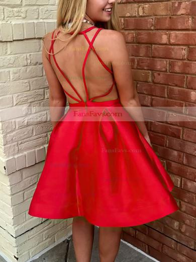 Princess V-neck Satin Short/Mini Ruffles Prom Dresses #Favs020106366