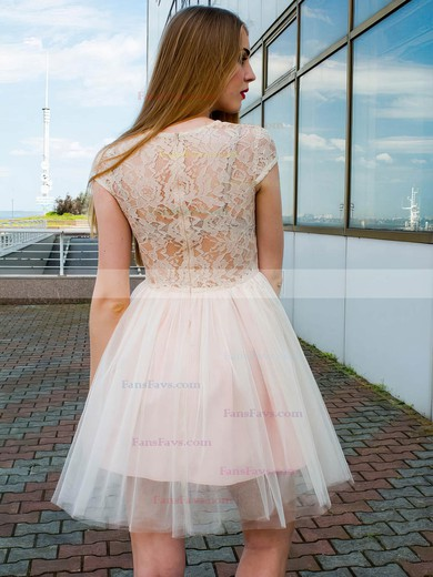 A-line Scoop Neck Lace Tulle Short/Mini Lace Prom Dresses #Favs020106367