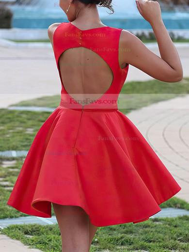 A-line V-neck Satin Short/Mini Ruffles Prom Dresses #Favs020106370