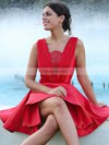A-line V-neck Satin Short/Mini Ruffles Prom Dresses #Favs020106370