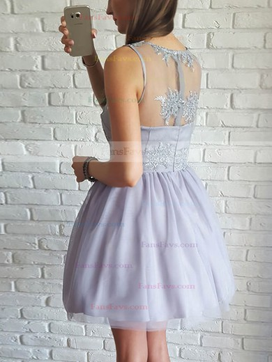 A-line Scoop Neck Tulle Short/Mini Appliques Lace Prom Dresses #Favs020106371
