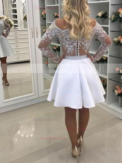 A-line Scoop Neck Satin Tulle Short/Mini Beading Prom Dresses #Favs020106372