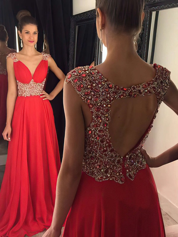 A-line V-neck Sweep Train Chiffon Prom Dresses with Beading #Favs020102404