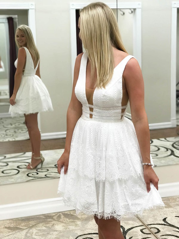 A-line V-neck Lace Short/Mini Tiered Prom Dresses #Favs020106373
