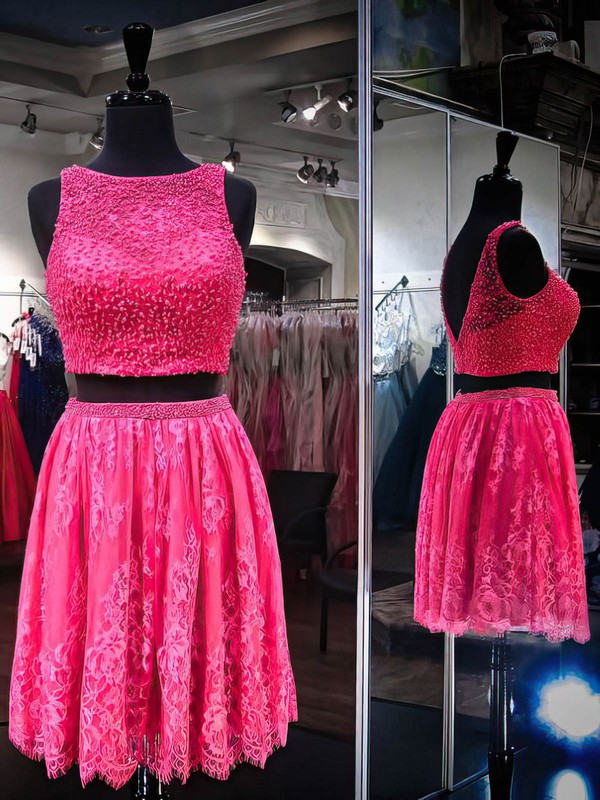 A-line Scoop Neck Lace Tulle Short/Mini Pearl Detailing Prom Dresses #Favs020106375