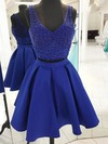 A-line V-neck Satin Tulle Short/Mini Beading Prom Dresses #Favs020106376