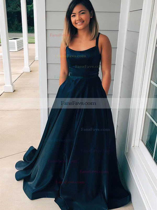 Princess Scoop Neck Satin Sweep Train Prom Dresses #Favs020106400
