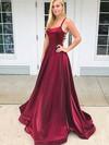 Princess Scoop Neck Satin Sweep Train Prom Dresses #Favs020106400