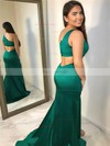 Trumpet/Mermaid One Shoulder Satin Sweep Train Split Front Prom Dresses #Favs020106402