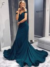 Trumpet/Mermaid Off-the-shoulder Silk-like Satin Sweep Train Sequins Prom Dresses #Favs020106403