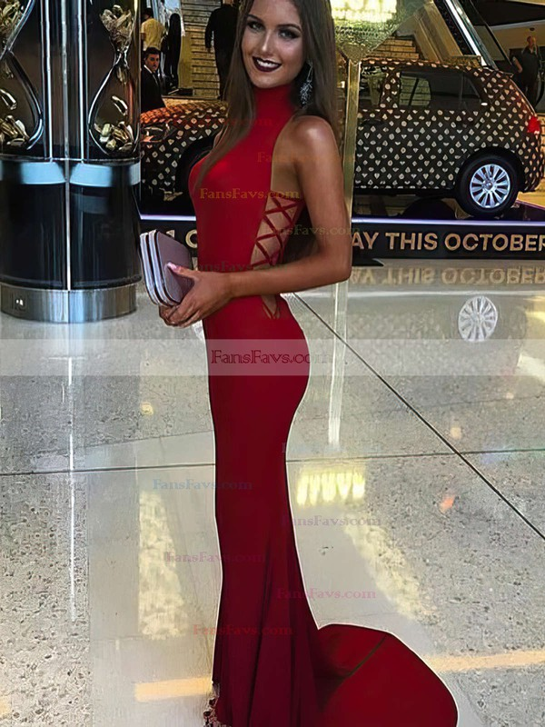 Trumpet/Mermaid High Neck Jersey Sweep Train Prom Dresses #Favs020104593
