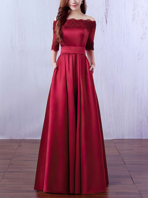A-line Off-the-shoulder Satin Floor-length Appliques Lace Prom Dresses #Favs020102406